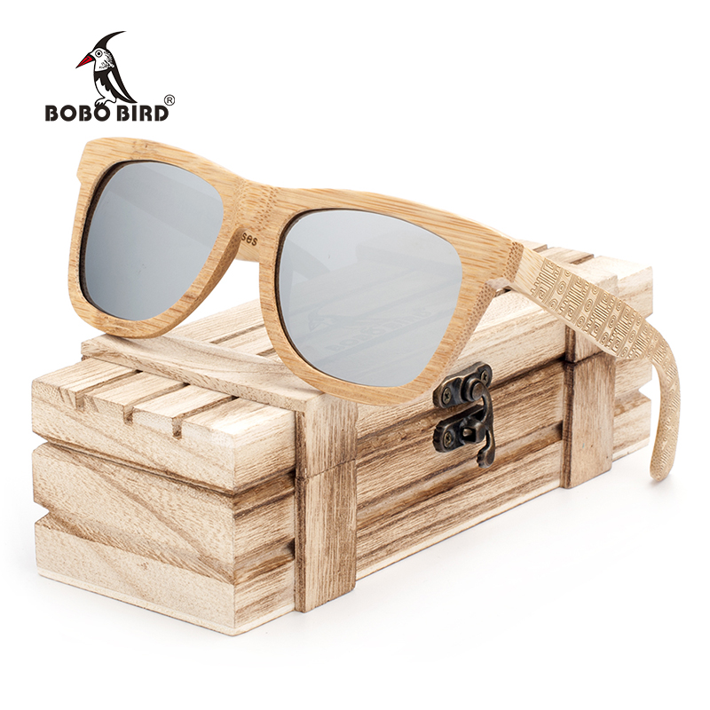 BOBO BIRD Brand Retro Bamboo Sunglasses Women And Men With Silver Polarized Lens Glasses As Best Men's Luxury Gifts C-DG06a