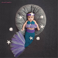 Hot Baby Hat Mermaid Newborn Photography Props For Infant Girls Boys Crochet Knitted Cap Hand Woven