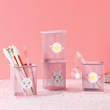 Creative stationery children's student metal grid pen holder desk accessories organizer pen holders supplies 1 pc pencil shaped pen stand holders for students plastic dest stationery holder cartoon creative pen holder