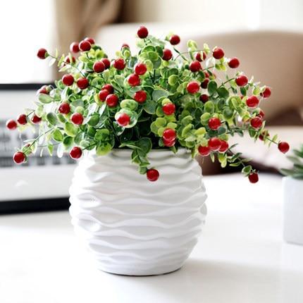 Pvc Red Berries Rich Fruit Decorative Blueberry Fruit Berry Eucalyptus Artificial Fruits Home Decoration Silk Plants
