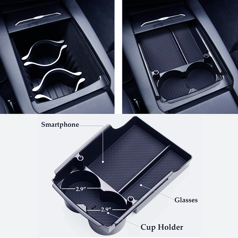 Tray Cup-Holders Armrest-Storage-Box Console Tesla Model-S/X-Centre-Organizer for And title=