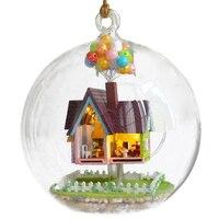 Кукольный домик, миниатюрный набор для самостоятельного изготовления дома, творческие комнаты с мебели и стеклянным покрытием для романти...