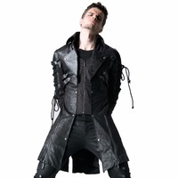 Steampunk Military Uniform Autumn Winter Punk Jacket Fashion Casual Overcoats Gothic Retro Style Faux Leather Long Coats for Men