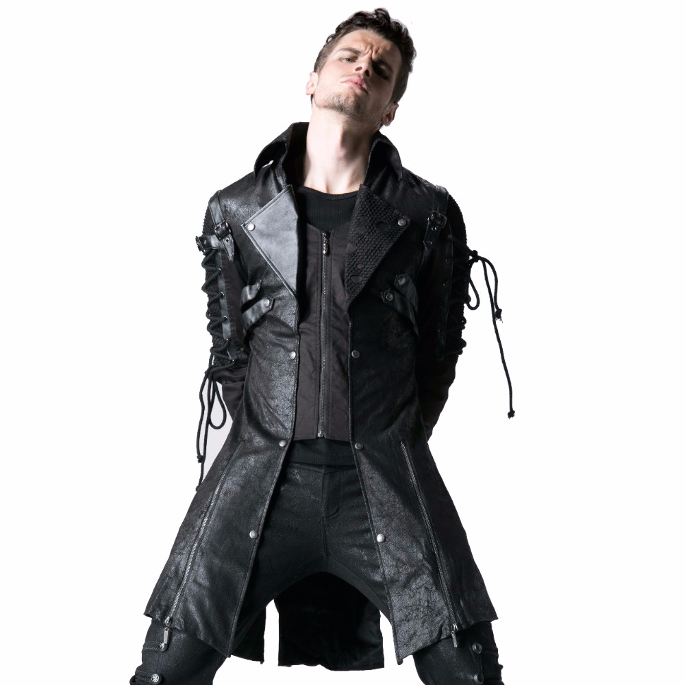 Steampunk <font><b>Military</b></font> Uniform Autumn <font><b>Winter</b></font> Punk <font><b>Jacket</b></font> Fashion Casual Overcoats Gothic Halloween Leather Long Coats image