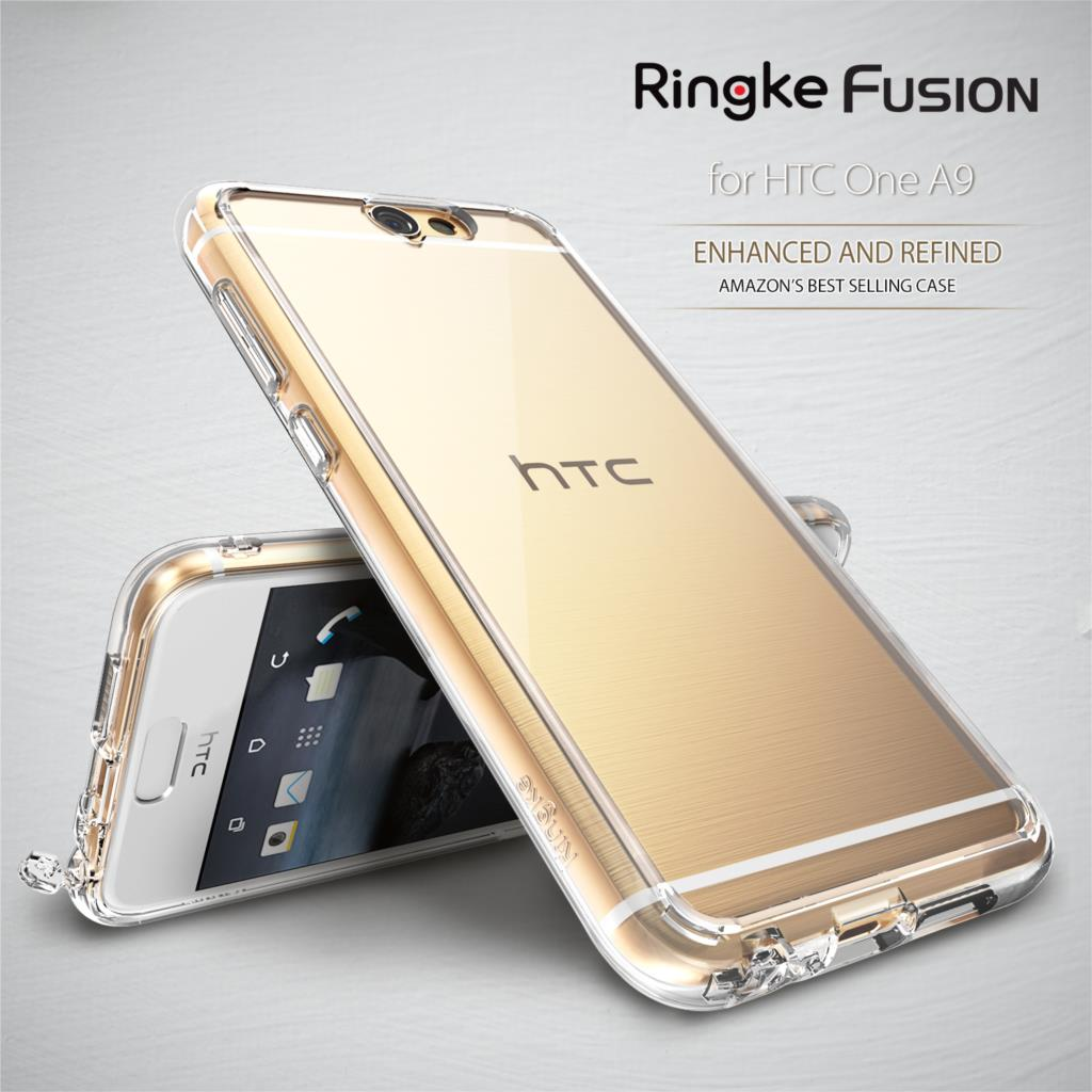 imágenes para 100% Original A9 Caso Ringke Fusión Prima Crystal Clear Trasero Duro Absorción de Choque Shell Cases para HTC Uno A9