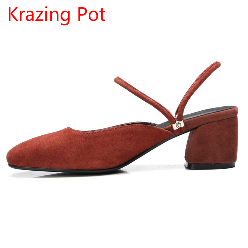 2017 Fashion Shallow Sheep Suede Brand Shoes Round Toe Preppy Style Med Heels Solid Sweet Pumps Slingback Sandals Young Lady L22 2017 shoes women med heels tassel slip on women pumps solid round toe high quality loafers preppy style lady casual shoes 17