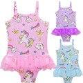 Цельнокроеные купальники с единорогом для девочек 3-9 лет, летние пляжные купальники для девочек, милые купальные костюмы UPF 50 +