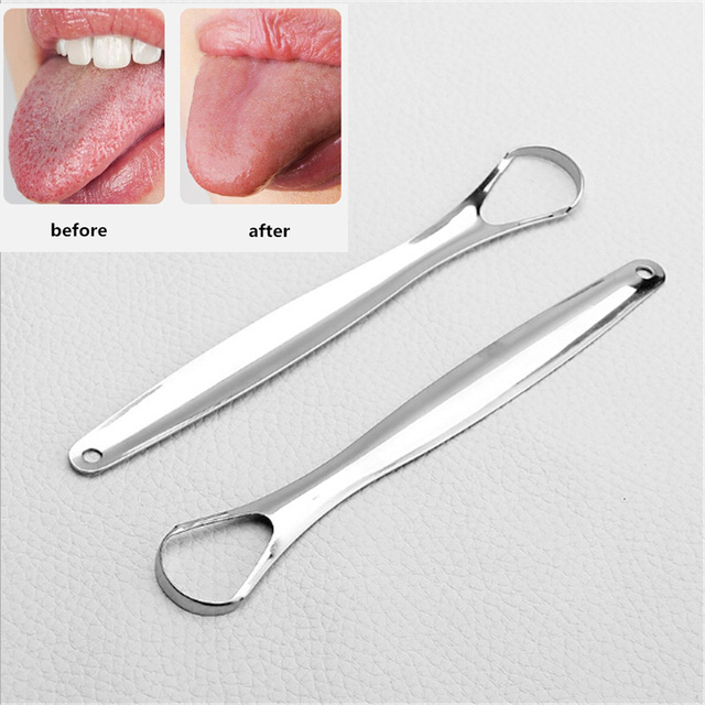 1Pc Tongue Scraper Reusable Portable Stainless Steel Oral Tongue Cleaner Brush Fresher Sweepers for Adults Kids