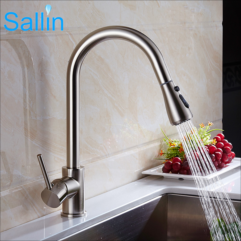 Brushed Nickel Pull Out Kitchen Faucet Mixer Tap Kitchen Sink Mixer Tap 360 degree rotation Sprayer Shower Kitchen Sink Mixer newly arrived pull out kitchen faucet gold chrome nickel black sink mixer tap 360 degree rotation kitchen mixer taps kitchen tap
