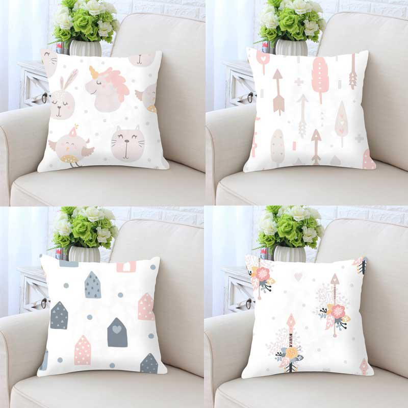 Cute Kawaii Pillow Unicorn Rabbit Nursery Decor Cushion Without Insert Pink Girls Room Kids Bedroom Decoration For Birthday Gift