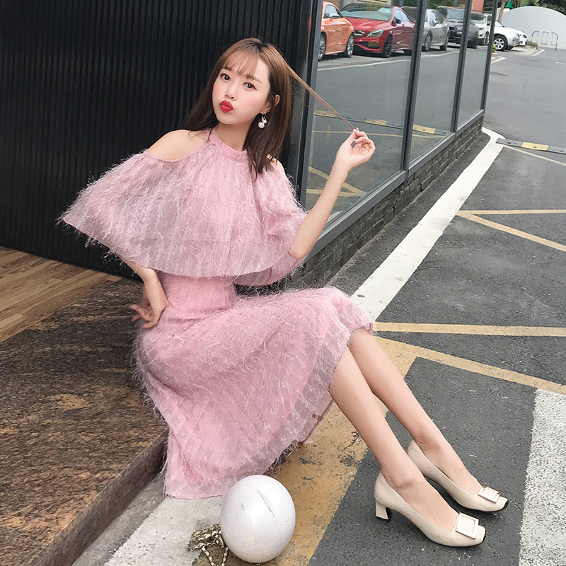 JIBAIYI Elegant Off Shoulder Short Sleeve Women Dress Sexy Pink Tassel Summer Laides Dresses Female Office Vintage Festa Vestido