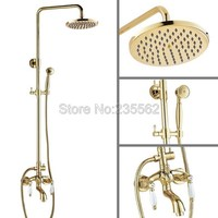 Gold Color Brass 8 inch Bathroom Rain Shower Faucet Set Wall Mounted Bathtub Mixer Taps with Handheld Shower Heads lgf424