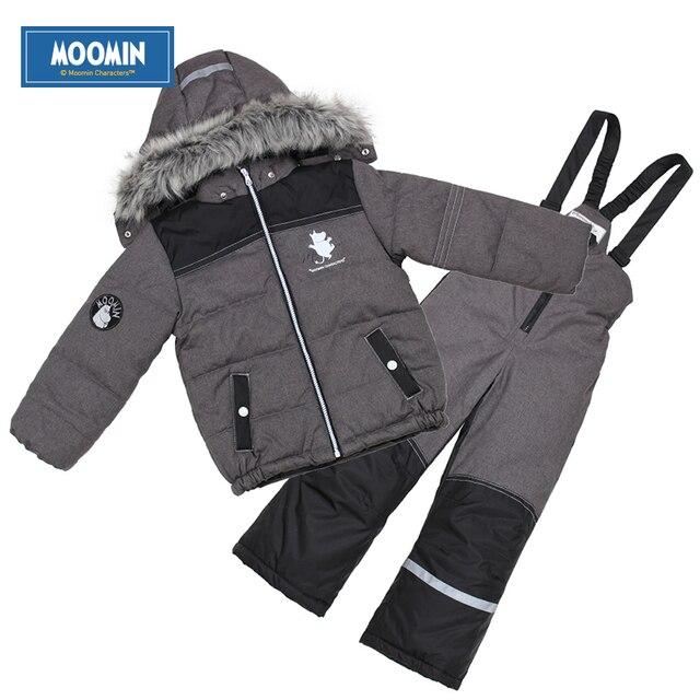 Муми Зима Теплая костюм водонепроницаемый с капюшоном Детская одежда установить вниз молнии Мальчики Snowsuit активного одежда