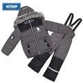 Moomin invierno chándal con capucha impermeable ropa de los niños fijaron abajo cremallera niños traje para la nieve ropa al aire libre activa