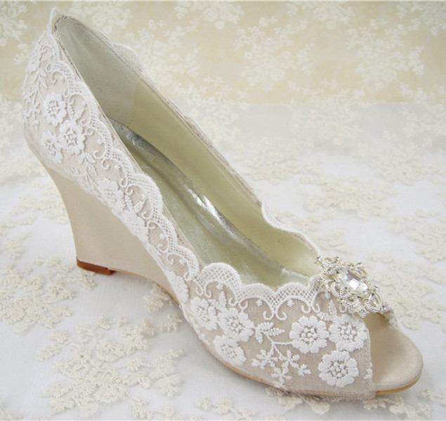 Wedge Heel Shoes For Wedding: Rhinestones Bridal Shoes/ Women's Wedding Shoes/ Wedges