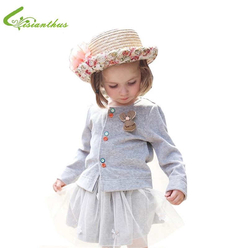 Free drop shipping 2016 Autumn winter girls' bowknot lace dress + Velvet Cardigan Kids casual clothing set Big Butterfly design