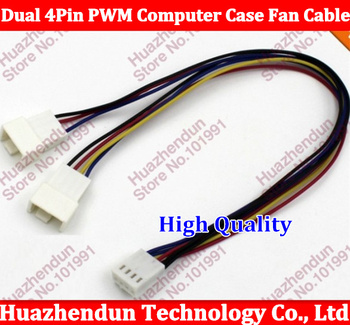 100pcs/lot Free Shipping High Quality 4Pin PWM To Dual 4Pin PWM Computer Case Fan Power Sleeved Y-Splitter Adapter Cable