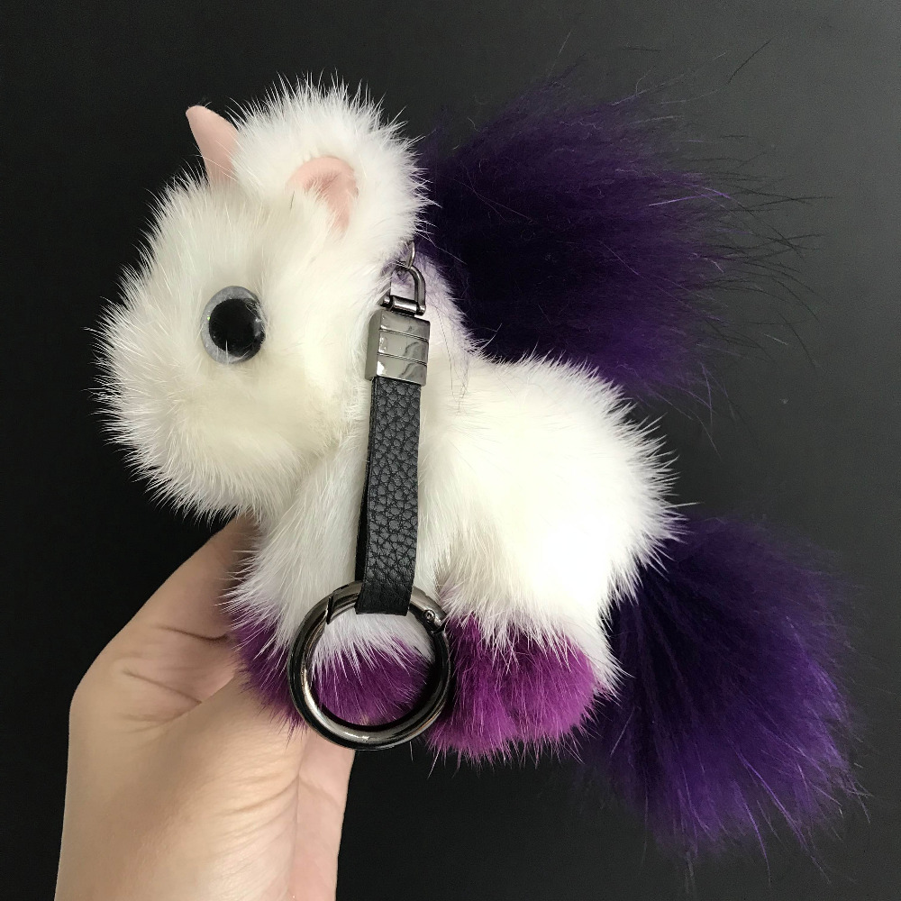 Magicfur So Cute Unicorn Real Mink fur Animal Doll Keyring Handbag Purse Car Key ring Phone