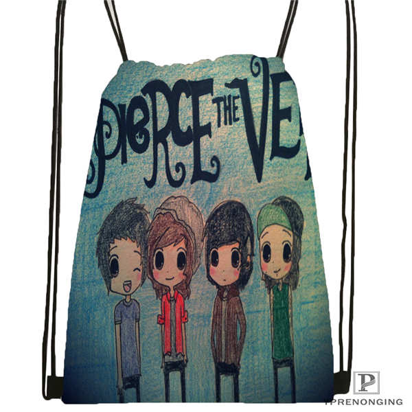 Custom Pierce-The-Veil@01- Drawstring Backpack Bag Cute Daypack Kids Satchel (Black Back) 31x40cm#180611-03-104