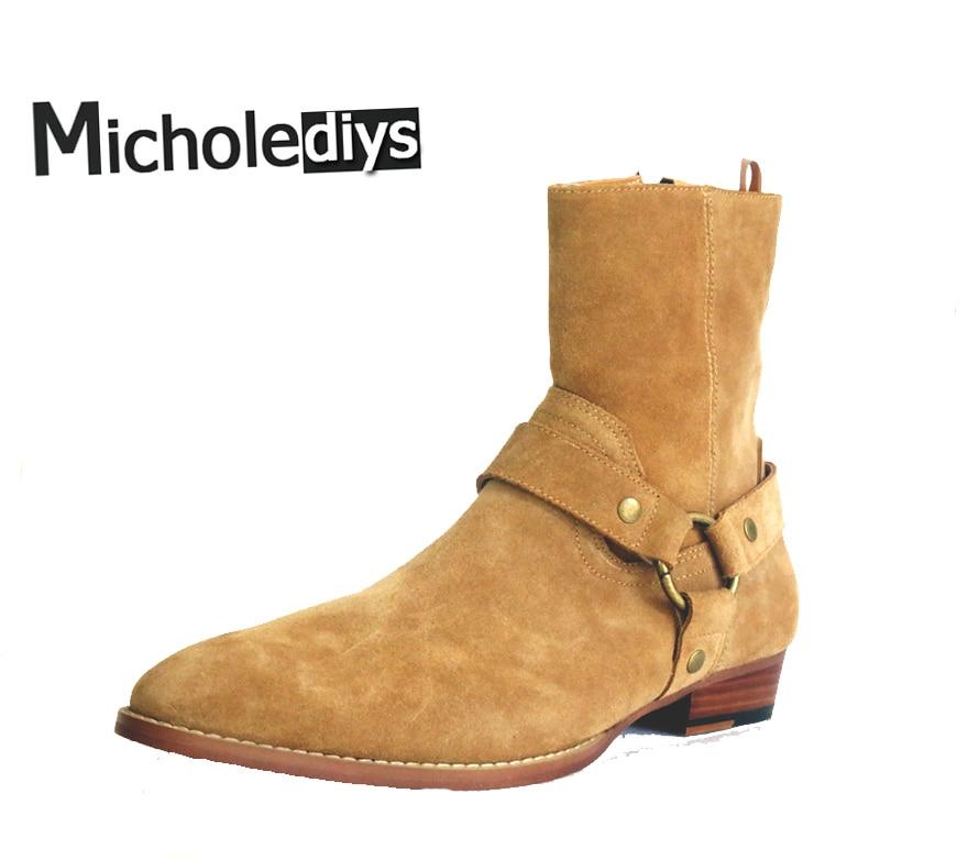 все цены на Micholediys Handmade All-matcing Classic Chelsea Boots Motorcycle Pointed Leather shoe Kanye West Men Botas Wedding Party Shoes