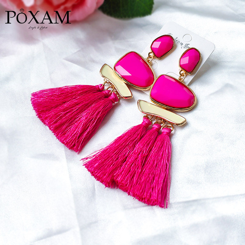 Big Bohemian Tassel Drop Earrings For Women Vintage Ethnic Manual Rhinestone Long Silk Fiber Fringe Earring 2019 Fashion Jewelry