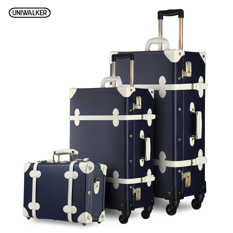 3PCS/SET Vintage PU Travel Luggage,12make-up bag & 20 26 Retro Trolley Suitcase Bags With Spinner Wheel With Combination Lock 12 20 22 24 26 gray retro trolley suitcase bags 2pcs set vintage travel trolley luggage with spinner wheels with tsa lock