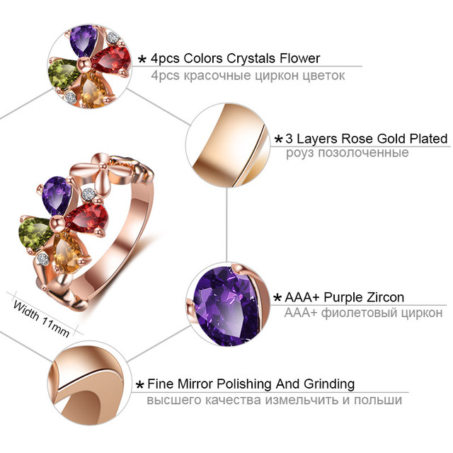 NEW 2017 Colors Flower Crystals Rings for women Rose gold color wedding rings female anel Green Champagne Red AAA Zircon Jewelry