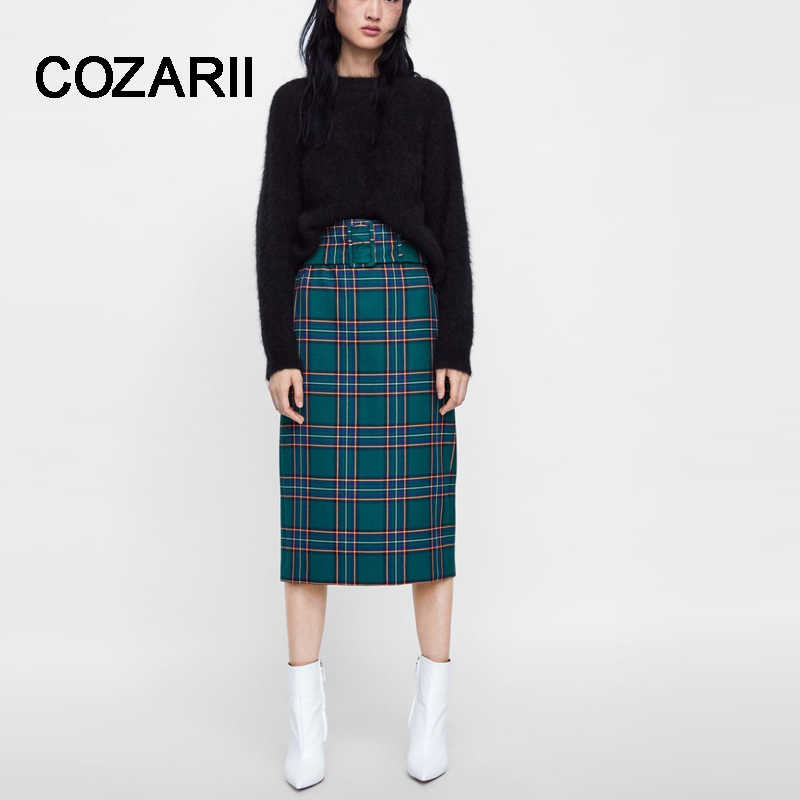 COZARII skirt women harajuku england vintage green plaid high waist with belt Forking in back sexy midi skirts women plus size