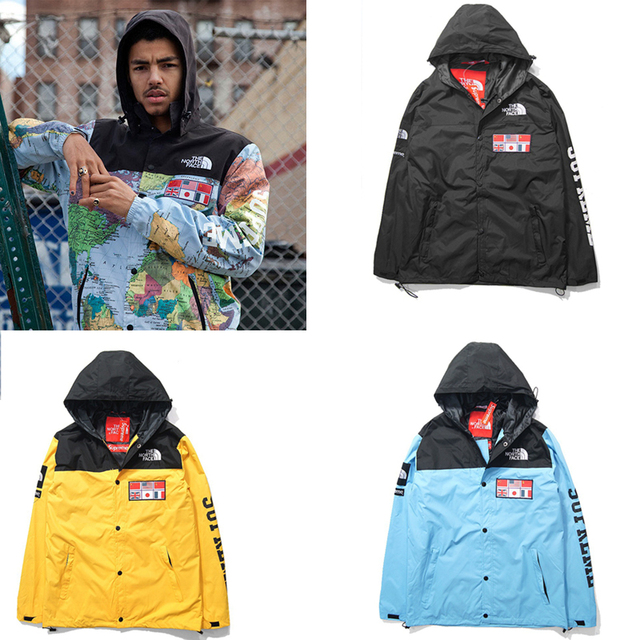 New Fall Winter Rare Hip Hop Face World Map Men Windbreaker Jacket Supreme Map Jacket on