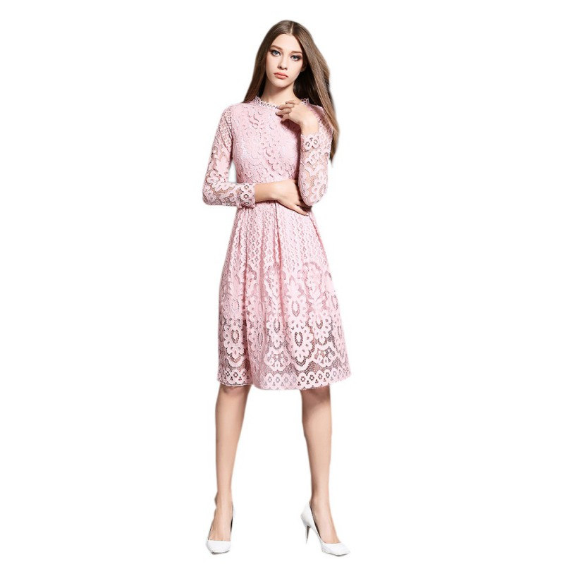 Summer Bohemian Dresses New Women Lace Print Hollow Out Dress Long Sleeve O-neck Solid Slim Dress Vestidos