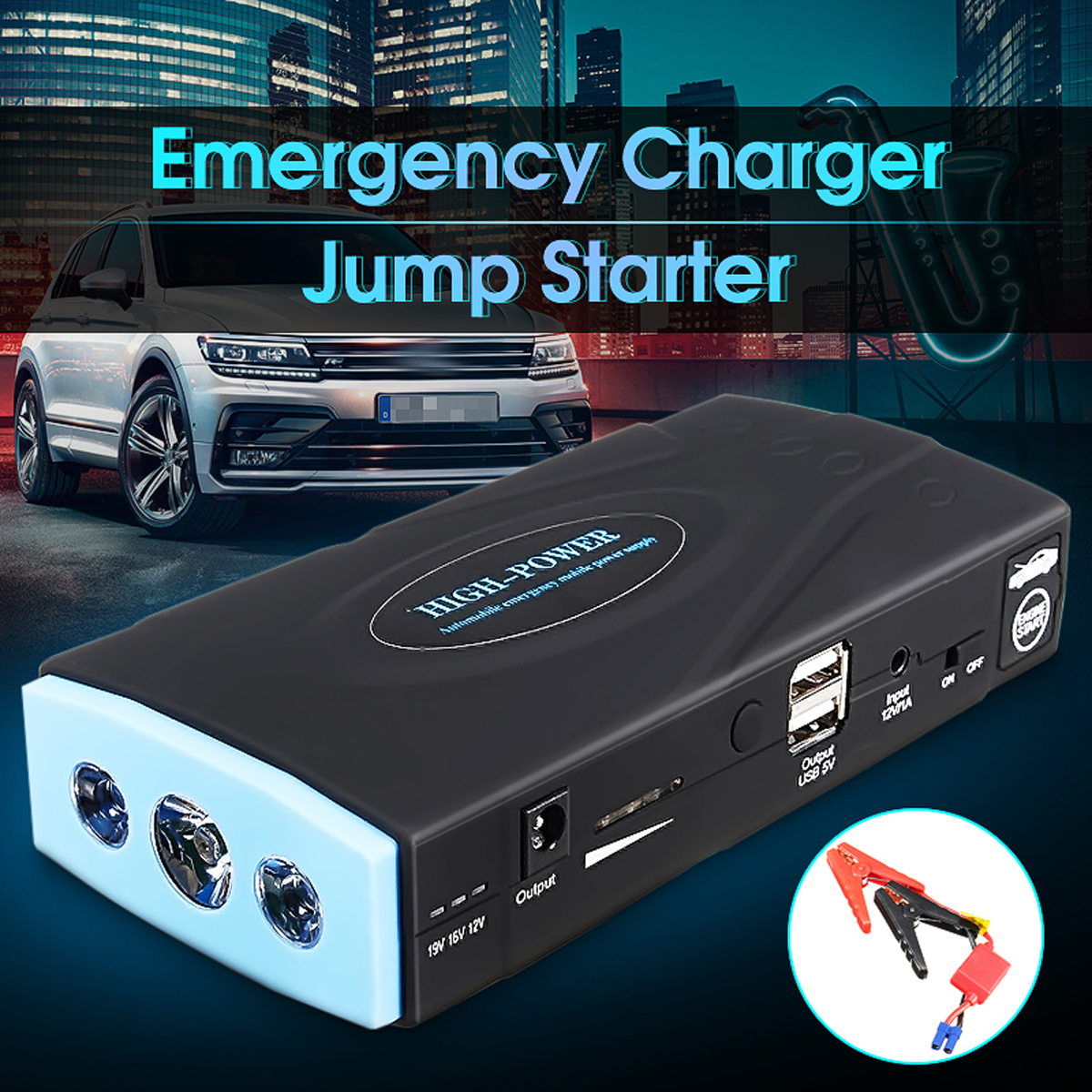 Useful 12000mAh 12V 2USB Multifunction Car Charger Battery Jump Starter LED Light Auto Emergency Mobile Power Bank Tool Kit jump starter 89800mah multifunction car charger battery jump starter 4usb led light auto emergency mobile power bank kit 600a