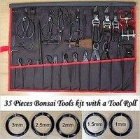 Новый 35 шт. Бонсай инструменты комплект с инструментом рулон садовые инструменты ручной работы