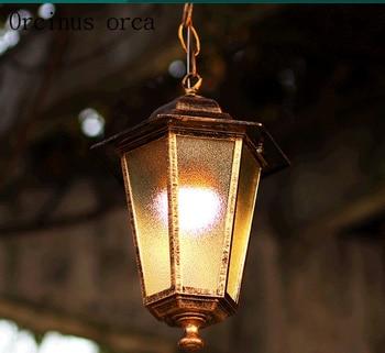 European classic bronze LED chandelier Gallery balcony modern creative personality glass waterproof Chandelier free shipping