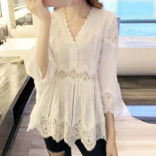 Lace Blouse Women Three Quarter 3/4 Bell Flare Sleeve Deep V-Neck White Cotton Tops Elegant Lady Hollow Out Lace Shirt AE469
