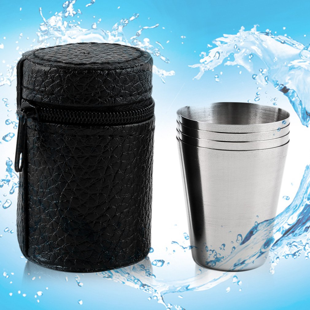 4 pièces tasse de couverture en acier inoxydable tasse de Camping tasse à boire café thé bière avec étui idéal pour Camping vacances pique-nique offre spéciale