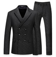 (Jacket+Vest+Pants) 2018 Spring Men Embroidery Black Suits Classic Mens Business Wedding Suit Traje Hombre Formal
