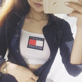 New design fashion brand street style very sexy LOGO classic short paragraph sling spring summer girls crop top