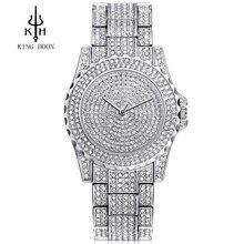 Mujeres Relojes de Cuarzo Reloj de Las Mujeres 40mm KINGHOON Marca Rosa de Oro Rhinestone Vestido Casual Reloje de Cristal Mujer 2017 Montre Femme