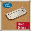 Buraco CC 64mm Liga de Zinco punho escondido moderno punho Punho da Mobília do quarto de Cozinha puxador de gaveta acabamento acetinado
