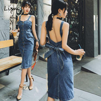LISM Plus Size Bodycon Backless Robe Femme High Street Spaghetti Strap Long Sexy Summer Sundress Overall Vintage Jeans Dress