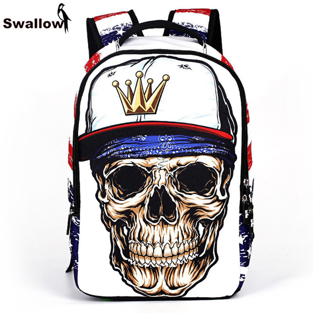 Graffiti Dark Style Rock Skull Backpack For Teenage Student Cool Glasses Skull With Hat And Earphone Pattern School Bag Backpack