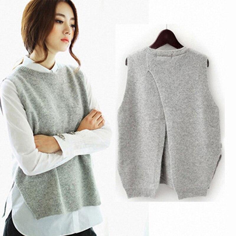 Knitted Pullover Vest Jumper Cashmere Sweater Sleeveless O-Neck Female Split Back-Cross