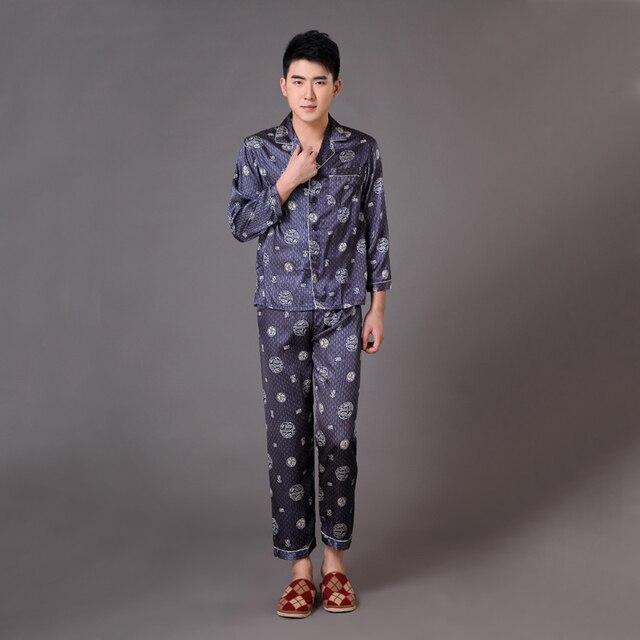 Урожай синий мужчины район пижамы комплект печатных пижамы костюм с длинными рукавами гостиная домашней одежды размер sml XL XXL XXXL MP014