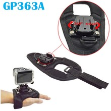 Free Shipping!!A Series New 360 Degree Rotative Hand Wrist Strap Glove-Style Mount for GoPro GITUP /SJCAM/XiaoMi Yi GP363A