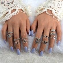 New 13pcs / Set Bohemian Jewelry Wedding Ring Elephant Moon Fatima Hand Crystal Fan Safe Hollow Flower Vintage Rings For Women