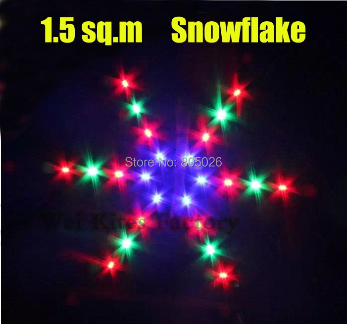ФОТО Free shipping led kite 1.5 square meters snowflake with charger attractive shinning in sky sailing ripstop nylon fabric