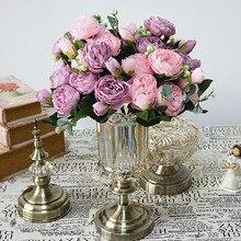 5 duża głowa/bukiet piwonie sztuczne kwiaty jedwabny bukiet piwonie 4 Bud kwiaty ślub dekoracja domu sztuczna piwonia kwiat róży