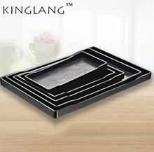 KINGLANG Japanese Style Plastic Melamine Serving Tray Sushi Plate For Restaurant Wholesale