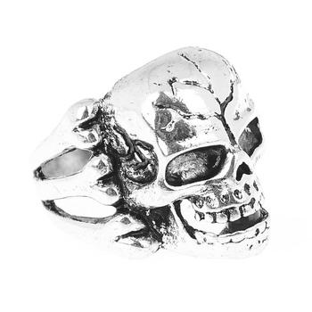 1Pcs Gothic Punk Skull Biker Silver Rings for Men High Quality Mens Silver Skeleton Finger Wedding Rings Jewelry Party