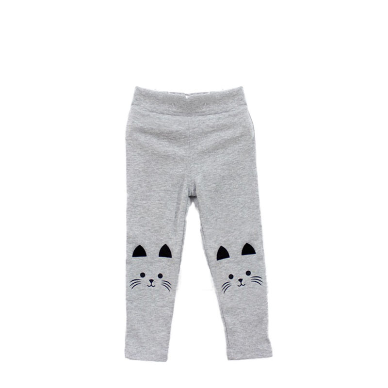 2017 High Quality 2-7Y Baby Girls Skinny Pants Cute Cat Printed Stretchy Kids Toddler Warm Leggings Capris Trousers